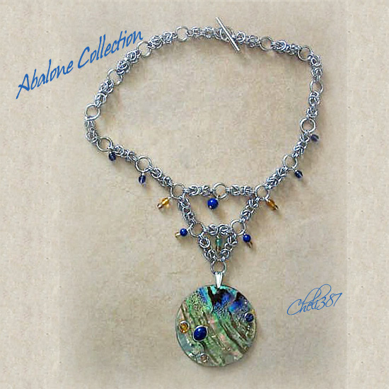 Ocean Breeze Abalone chainmaille pendant necklace. with tanzanaite and citrine crystals