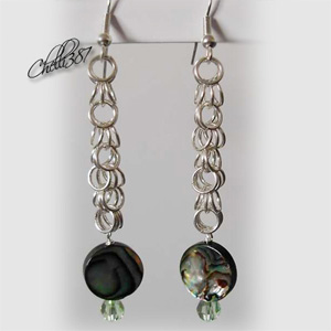Paua abalone shell silver chainmaille earrings