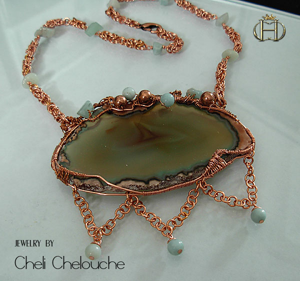 agate browngreen sliced and aventurine copper necklace