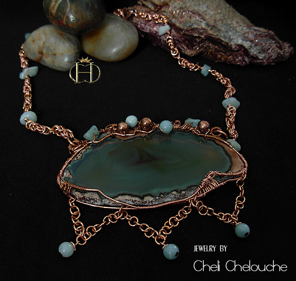 agate browngreen sliced with aventurine copper necklace