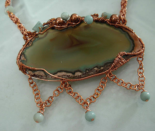 agate natural copper necklace