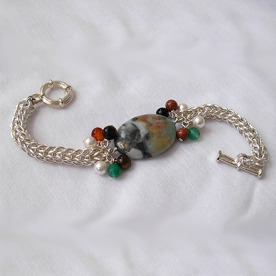 agate whimsical chainmail silver bracelet