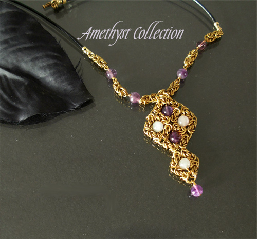 amethyst and rosequartz pendant necklace