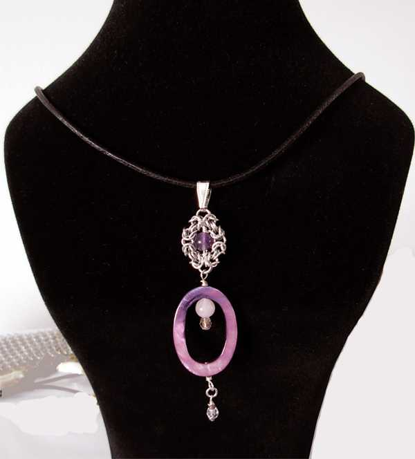 amethyst rose quartz shell chainmaille necklace