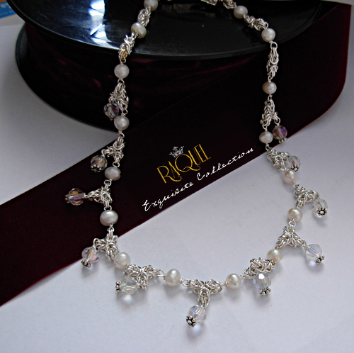 bridal crown silver pearl crystal necklace