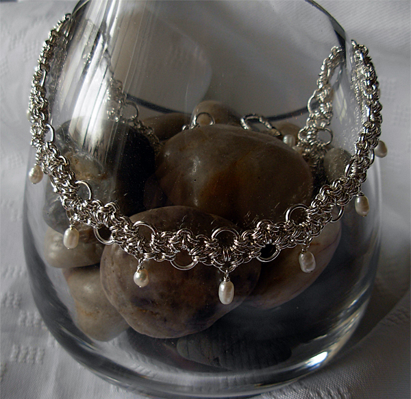 bridal silver lace with freshwater pearls necklace