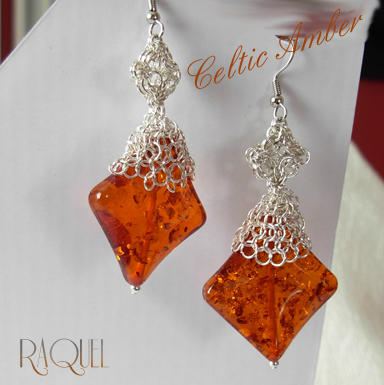 celticamber lace diamond shaped silver earrings