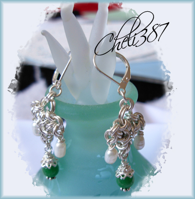 jade and pearls silver earrings