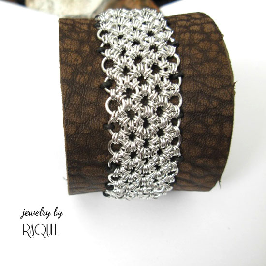 Leather wristband with metal mesh bracelet
