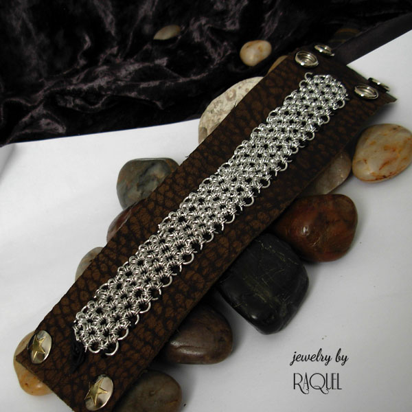 japanese weave on brown leather bracelet