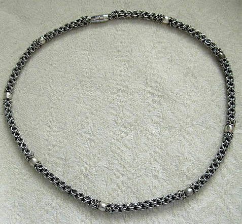 mens stainless steel captive chainmail necklace