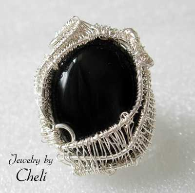onyx basket silver ring