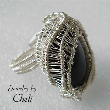 onyx in sterling silver basket ring