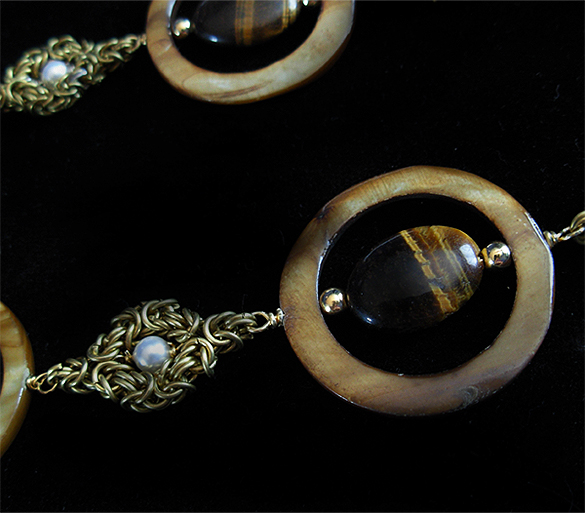 tiger eye with circle shells chainmaille necklace