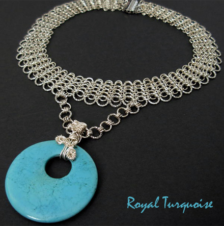 turquoise circle silver mesh necklace