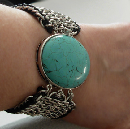 turquoise liquid metal chainmaille bracelet