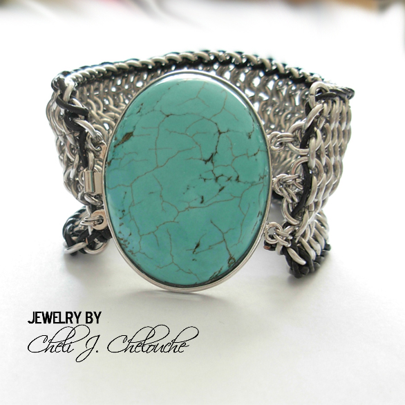 turquoise with leather cord mesh bracelet copy