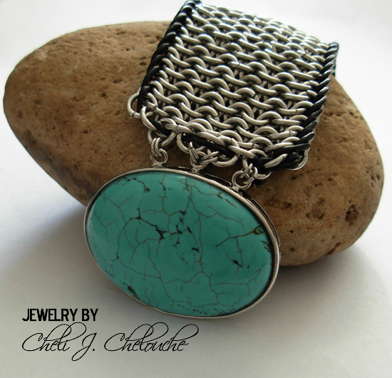 images/turquoise with leather cord mesh chainmaille bracelet.jpg