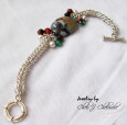 agate whimsical chainmail silver bracelet copy