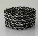 silver and black wide chainmaille cuff