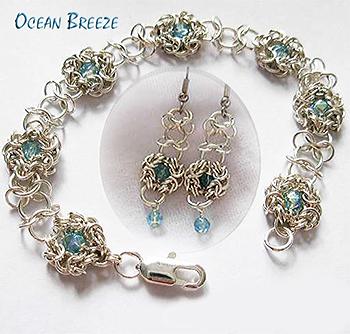 Images Aqumarine Byzantine Romanov Gridlock Silver Bracelet Earrings Set Jpg